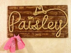 Western Wood Rope Name Sign Baby Country Rustic. I would love to get this for kylee. How cute would this be for her horse room. Love it!
