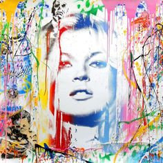 Kate Moss - Mixed Media Art by Mr. Brainwash