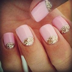 Show Me Your Wedding Nails (or what you plan to do)! : wedding bridal nails french manicure gel manicure lace nails manicure nail art nails wedding nails Pale Pink Nails With Glitter pretty with white nail Love Nails, Pretty Nails, Fun Nails, Sexy Nails, Classy Nails, Gorgeous Nails, Fabulous Nails, Gold Glitter Nails, Gold Sparkle