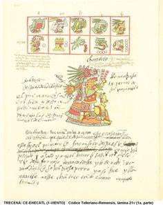 """TRECENA: CE-EHECATL (1-VIENTO) [Del 18 al 30 de Diciembre del 2015] Códice Telleriano-Remensis, lámina 21v (primera parte de la trecena);  Tonalpohualli es el calendario Ritual o cuenta de las Trecenas. (Equivalente a la """"semana"""" pero de 13 días) [consiste de veinte trecenas, 20x13=260 días]"""