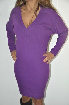 French Connection Plunge Long Batwing Sleeve T shirt Jumper Dress PURPLE - UK 10