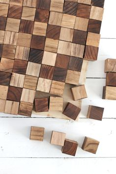 wooden wall decoration. Create a wooden mosaic wall art with simple supplies you can find at the  craft store Everitt Schilling Tile Up cycled and re claimed handmade wood
