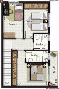 Sobrado com suíte e dois quartos Villa Plan, Home Design Plans, Plan Design, Small Villa, Indian House Plans, Tiny House Cabin, Building A New Home, Modular Homes, Facade House