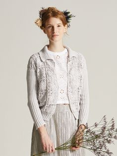 """Inspiration @ Rowan - Carnation jacket from """"Filigree"""" pattern book - body of cardi is crocheted squares with ribbed knitted sleeves, collar & welts"""