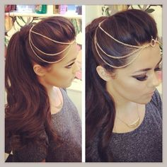 Head chain with styled ponytail Fancy Hairstyles, Indian Hairstyles, Wedding Hairstyles, Headpiece Wedding, Bridal Hair, Tikka Hairstyle, Head Chain Jewelry, Indian Head Jewelry, Epic Hair