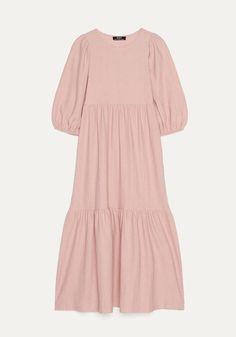 Maxi largo color rosa de Bershka