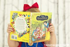 Love this photo idea. All dressed up, reading her favorite princess book. Themed Photography, Toddler Photography, Snow White Pictures, Baby Pictures, Disney With A Toddler, Baby Disney, Toddler Photos, Kid Photos, Family Photos