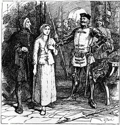 Robert de Baudricourt (right) laughing at Joan of Arc on her first attempt to get him to take her to Charles VII.
