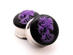 Purple Skull Cameo Resin Plugs gauges  5/8 by mysticmetalsorganics, $24.99