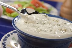 Homemade Blue Cheese Dressing runs rings around bottled. With this dressing being so easy to whirl together, it& a natural for drizzling on salads, tossing with pasta, or even adding tasty excitement to burgers. Amish Recipes, Great Recipes, Favorite Recipes, Delicious Recipes, Recipe Ideas, Low Carb Recipes, Cooking Recipes, Atkins Recipes, Blue Cheese Dressing