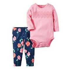 Baby Girl Carter's Crochet Long Sleeve Bodysuit & Floral Leggings Set