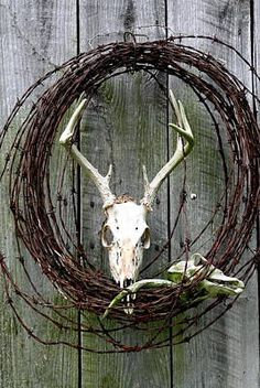 Hunters Wreath Variation Photograph - Hunters Wreath Variation Fine Art Print**clintons old rack idea Barbed Wire Decor, Barbed Wire Wreath, Antler Wreath, Barb Wire Crafts, Deer Decor, Deer Hunting Decor, Antler Art, Deer Antler Crafts, Deer Mounts