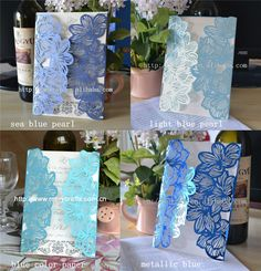 Cheap Event & Party Supplies, Buy Directly from China Suppliers: Specifications   blue laser cut wedding invitations1.size:12*17cm2.material: 250g pearl