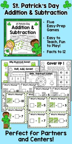 Here's a set of five fun addition and subtraction games for St. Patrick's Day!  Perfect for partners and centers, this is a great way for children working on facts to 12 to get plenty of the review and practice they need to build fluency with these facts.  #StPatricksDayMathCenters #firstgrademath #mathfactsgames