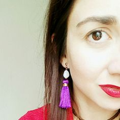Wear your custom made earrings and shine!I choose purple and gold! Greece Holiday, Eye Painting, How To Make Earrings, Like You, Drop Earrings, Jewellery, Purple, Trending Outfits, Unique Jewelry