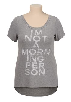 I'm not a morning person graphic print plus size tee