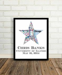 """Graduation City Map Print . This print is customized to """"star"""" your special day. Your print measures 8.5""""x11"""". Would you like to see a draft? Let us know!THIS"""