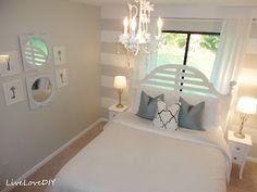 LiveLoveDIY: Gray & White Striped Guest Bedroom Reveal Behr-790-C Silver Drop Flat (stripe) Behr-Ultra Pure White Flat