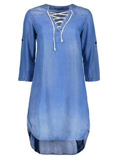 Lace Up Denim Tunic Dress - BLUE S