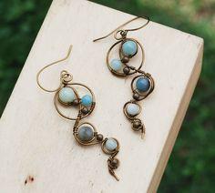 Amazonite Gemstones Metal Bead Antique Bronze Wire Wrap Spiral Swirl Earrings #Jeanninehandmade #Wrap