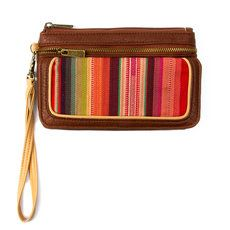 Faux Leather and Festival Stripes Wristlet Wallet