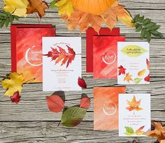 The changing leaves are a perfect muse for beautiful design. #wedding #changingleaves #watercolor #stationery #weddinginvitation #fall #fallinlove #love #autumn #pumpkin #leaves #autumnleaves #soloverly