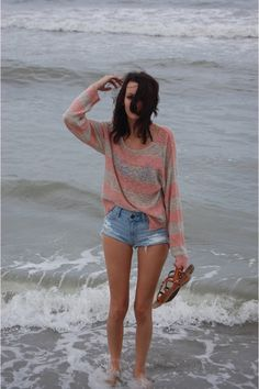 pink striped target sweater - denim cuttoff american eagle outfitters shorts chictopia.com