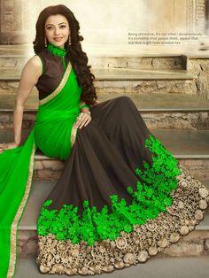 South Indian Movies Heroines Kajal Aggarwal in Saree green color kajal - Green Things Designer Silk Sarees, Latest Designer Sarees, Trendy Sarees, Fancy Sarees, Saree Jewellery, Half Saree Designs, Casual Saree, Elegant Saree, Festival Wear