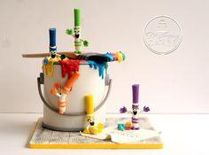 crayola art paint can cake Painter Cake, Artist Cake, Art Birthday Cake, Artist Birthday, Art Party Cakes, Cake Art, Fondant Cakes, Cupcake Cakes, Cupcakes
