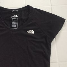 North Face Athletic Top Authentic North Face// black v-neck athletic top// light and airy// perfect for working out// brand new with out tags// only washed once and never worn// feel free to ask any questions! North Face Tops Tees - Short Sleeve