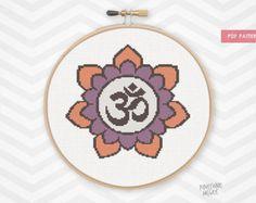 PURPLE OM FLOWER counted cross stitch pattern zen meditation