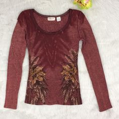 Miss Me Embellished Burgundy Long Sleeve Cotton Top Sz. Small #MissMe #KnitTop #Casual