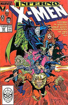 This was the first major cross-over series I experienced as a kid.  I really enjoyed it, but most people claimed it paled to Fall of the Mutants (which was also great)     Inferno was a Marvel Comics company-wide crossover in 1989 that mainly involved the mutant titles, namely The Uncanny X-Men, X-Factor, X-Terminators, Excalibur, and The New Mutants. The story concerned the corruption of Madelyne Pryor into the Goblin Queen, the final transformation of Illyana Rasputin into the Darkchylde…