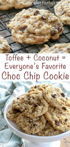 Toffee Coconut Pecan Chocolate Chip Cookies are everything we love in a chewy cookie! #cookierecipes
