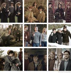 The best of friends, always.  Daniel Radcliffe as Harry Potter, Rupert Grint as Ron Weasley, Emma Watson as Hermione Granger.
