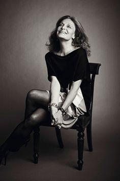 Meet the always lovely Diane von Furstenberg! #DesignerSpotlight #DVF. POSE IN A CHAIR