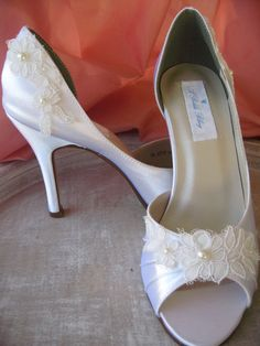 Wedding Shoes Ivory or White Lace Bridal Shoes by ABiddaBling,