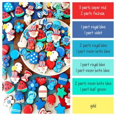 How to make patriotic icing or frosting colors for the of July - a cookie decorating icing color palette with formulas ~ LilaLoa Icing Color Chart, Color Mixing Chart, Color Charts, Cookie Decorating Icing, Food Decorating, Sugar Cookie Royal Icing, Royal Frosting, Cookie Icing, Caramel Shortbread