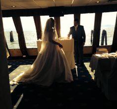 Beautiful couple,  waterfront wedding