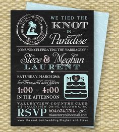 Chalkboard Destination Wedding Invitation Post Reception Tied The Knot In Paradise Beach Any Colors