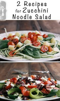 2 Easy Recipes for Zucchini Noodle Salad. All you need is a vegetable peeler. • theVintageMixer.com #raw #zucchininoodles