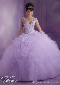 Vestido De Debutante Para 15 Anos Lavender Ball Gowns Quinceanera Dresses Tulle Cap Sleeve Beaded Crystals Prettiest Puffy Sweet Dress