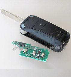 2 Button Flip Folding Remote Key For Porsche Cayenne ID46 Chip With 433Mhz/315Mhz Car Alarm Keyless Entry Fob