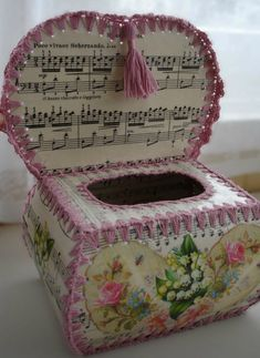 """""""Music Crochet Box inside by Cosmica"""" this link does not offer instructions. this is for photo only. reminds me of the greeting card """"bowls"""" the lady at the nursing home made. Retro Christmas Decorations, Christmas Card Crafts, Victorian Crafts, Vintage Crafts, Greeting Card Box, Vintage Greeting Cards, Crochet Box, Vintage Crochet, Card Basket"""