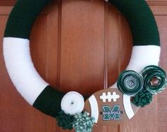 Marshall Green and White Yarn Wrapped with Felt Flowers