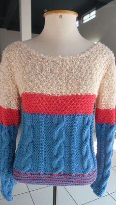 Blusa com a lã Teen da Circulo, Cores da Purafiba e Lizane da Rayontex. Receita da revista Mon Tricot 2010