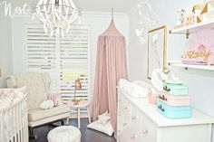 This nursery is fit for one lucky princess! Glamorous, blush and gold by @nestdesignstudio