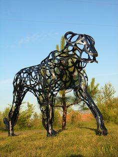 Leopard made using all horseshoes