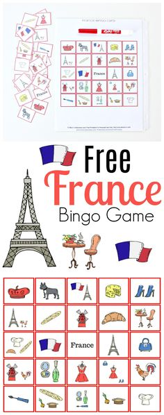 France bingo game free printable activity for kids of all ages! French Games For Kids, French Kids, Bingo For Kids, Printable Activities For Kids, Ways Of Learning, Preschool Activities, France For Kids, Bingo Games Free, France Craft
