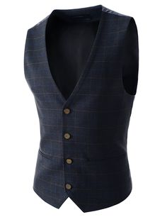 Korean fashion vests for men. Plaids pattern waistcoats, wool blend checked suit vests for wedding, dating, business work, party. Stylish guys four button vests.
